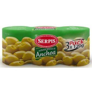 picoteo aceitunas rellenas de anchoa pack 3 serpis