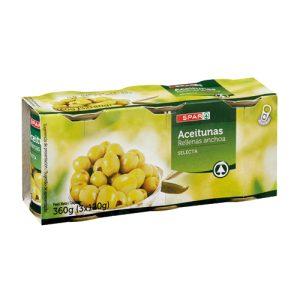 aceitunas spar rellenas anchoa pack 3